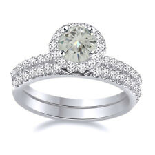2 Piece Halo Engagement Bridal Ring Sterling Silver 5 ct Genuine Moissanite