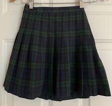 Lands Land's End Girls 6X Plaid School Uniform Pleated Skirt Navy Blue Green 6