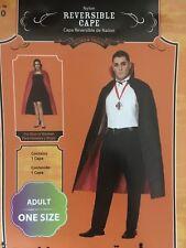 Halloween Costume Vampire Unisex Reversible Nylon Cape Red Black One Size
