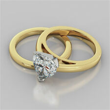 2.00 Ct Heart Shape Diamond Engagement Ring 14K Real Yellow Gold Band Set Size P