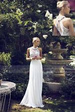 Chiffon Beach Elegant Wedding Dress Bridal Gown Custom Size 4 6 8 10 12 14 16 18