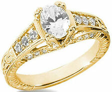 1.04 carat Oval Diamond Solitaire Engagement Ring 14k Yellow Gold 1.46 tcw
