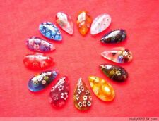 12Pcs Beautiful Bead Teardrop Millefiori Flower Lampwork Glass Beads 22×12 mm
