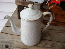 Antique Graniteware Coffee Pot Snow Mountain/Chick Wire 71/2'' Rare Size Design