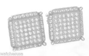 Argent Massif Blanc Zircone Pierres 10mm Forme Carrée Clou Unisexe Boucles