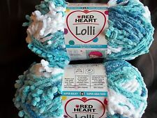 Red Heart Lolli baby textured plush yarn, Icing, lot of 2 (80 yds each)