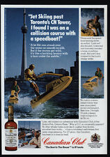 1976 CANADIAN CLUB Whisky - TORONTO CN TOWER - Man & Woman Jet Ski - VINTAGE AD
