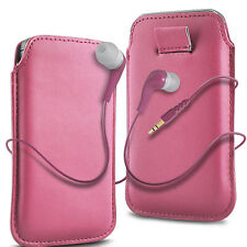 Pink PU Leather Pull Tab  Flip Case Cover & Earbud Earphone for Mobile Phones
