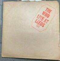THE WHO VINYL LIVE AT LEEDS ALBUM LP 1970 POLYDOR 2406 001  UK PRESS   A3  B3