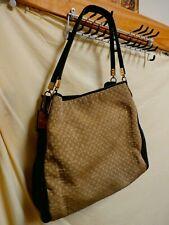 Coach Authentic Blk Leather & Signature Beige Fabric Designer Handbag Purse Gold
