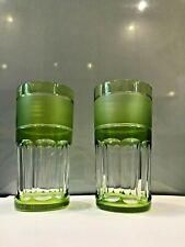 2 verres gobelets à whisky doublé vert cristal Val Saint Lambert h: 14cm