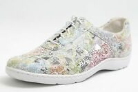 Waldläufer Schuhe weiß bunt beblümt echt Leder Wechselfußbett Schuhweite H Damen