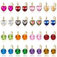 Fashion Women Elegant Heart/Round Crystal CZ Ear Stud Earrings Charm Jewellery