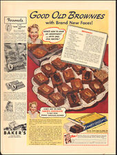 1941 Vintage ad for Baker's Chocolate recipe Brownies retro pack   (071217)
