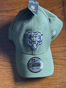 CHICAGO BEARS NEW ERA 39THIRTY SALUTE TO SERVICE SIDELINE HAT CAP LARGE / XL