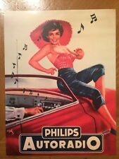 Tin Sign Vintage Metal Phillips Autoradio