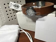 NEW DIESEL DX0907060 BROWN LEATHER STRAP STEEL LOGO MEN'S BRACELET WITH BOX