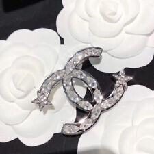 CHANEL Vintage CC Logos Brooch Pin Diamond Silver -Tone Corsage