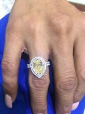 2.65ct Fancy Yellow Double Halo Pear Shape Pave' Diamond Engagement Ring