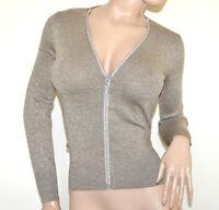 CARDIGAN BEIGE dorè maillot femme pullover manches longues ouvert zip lurex A37