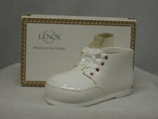"""Lenox Bear Baby Shoe with Pink Crystals 4.5"""" 868895 (New In Original Lenox Box)"""