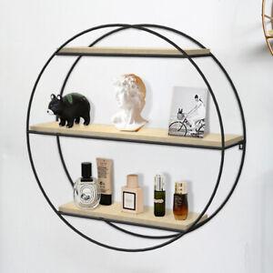 3 Tier Floating Circle Shelves Metal Wood Storage Display Shelf Fixings Included