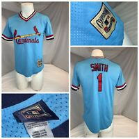 St. Louis Cardinals 1982 Ozzie Smith Blue Jersey L Boys Cooperstown YGI I0-99