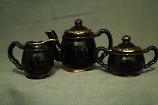 vtg Children's tea set teapot sugar bowl creamer pitcher black pottery doll play
