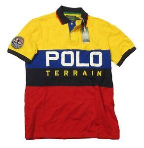 Polo Ralph Lauren Men's Yellow Multi Polo Terrain Classic Fit Mesh Polo Shirt