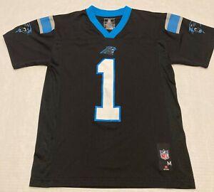 Cam Newton Carolina Panthers NFL Players Black Blue Jersey Boys Medium 10-12  #1