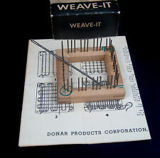 "Vintage Weave-it 2"" Wood Hand Loom Original Box Instructions & Needle by Donar"