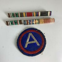 Vintage WW2 Army Ribbon Bar Award Lot w/ Army Central Patch Victory EAME Stars