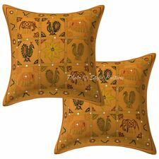 Indian Cushion Cover Decor Brocade Mango Yellow Cotton Ethnic Pillow Case Throw
