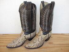 Vtg Mens Tony Lama Black Label Sz 9.5D Snake Skin Western Cowboy Boots Leather