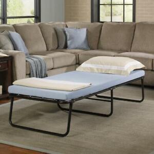 Single Portable Folding Bed W/ Memory Foam Mattress Cot Sleeper Roll Away Guest