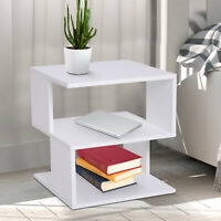 Modern Square 2 Tier Coffee Side Table Open Storing Shelf Living Room White