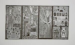 """Original Unique Linocut """"Town's Dance"""" Print by Lithuanian Folk Artist"""