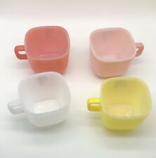 Lot (4) Vintage Lipton Glasbake Square Coffee Soup Mugs Pastel Red Yellow White