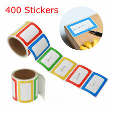 2 Rolls 400 Stickers Plain Name Tag Labels colorful for School Office Camp Party
