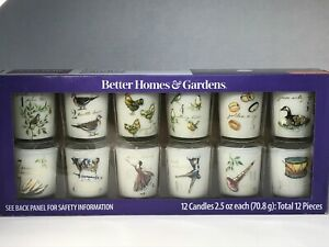 Better Homes &Gardens 12 days of Christmas Glass Votive Candle Set New FREE SHIP