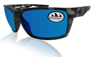 Costa Del Mar Reefton ocearch matte tiger shark frame blue mirror 580 glass lens