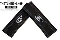 2 x Seat Belt Covers Pads Black Leather White Embroidery for Ford
