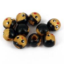 Pack de 25 Tête en Bois Perles, 12 mm visages-Trou 4 MM W12