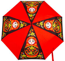 Red Folding Umbrella Automatic Strawberry Khokhloma Nesting Doll Art Compact