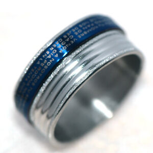 Big Mens Rings Womens Blue Stainless Steel Hip Hop Band Ring Size 10