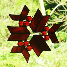 RED SNOWFLAKE stained glass HAND CRAFTED SUNCATCHER CHRISTMAS WINDOW DECORATIONS