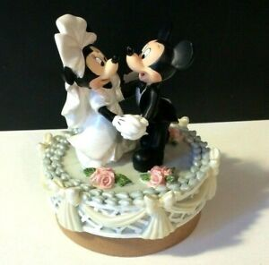 Disney Mickey Minnie Mouse Wedding Figurine Bride Groom Cake Candle Topper