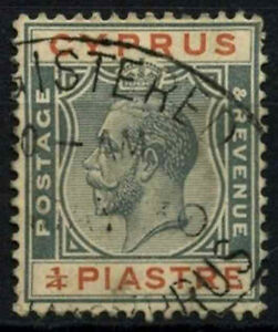 Cyprus  1924-8 SG#103, 1/4pi Grey & Chestnut KGV Used #D51636