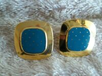 "Vintage ""Laurel Burch"" Clip Earrings, Marked ""Mastriano"" Gold Tone , Enamel"