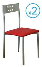 Pack 2 sillas cocina estilo moderno Costa color rojo comedor pata metal 86x47x41